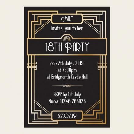 18th Birthday Invitations - Great Gatsby