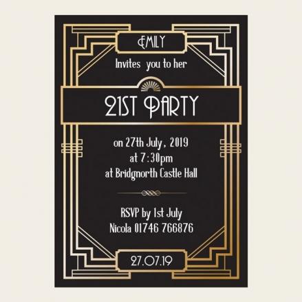 21st Birthday Invitations - Great Gatsby