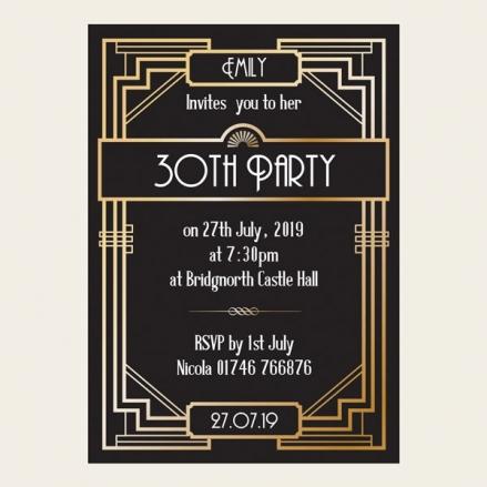 30th Birthday Invitations - Great Gatsby