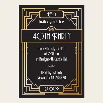 40th Birthday Invitations - Great Gatsby