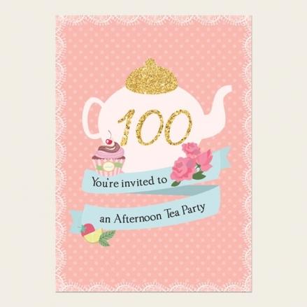 100th Birthday Invitations - Teapot and Cupcake