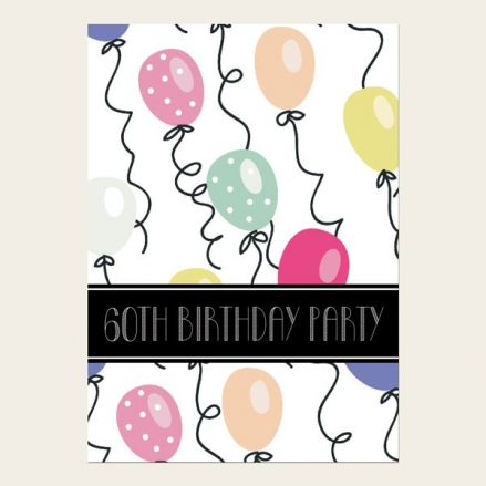 60th Birthday Invitations - Balloon Party