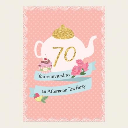 70th Birthday Invitations - Teapot and Cupcake