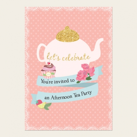 Tea Party Invitations - Teapot and Cupcake