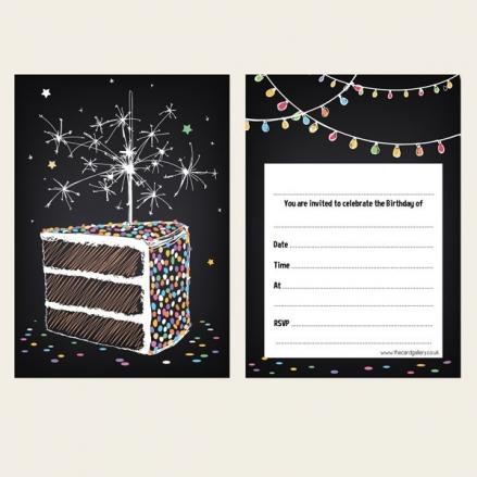 Ready To Write Birthday Invitations - Sparkly Birthday Cake