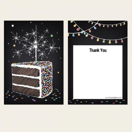 Ready to Write Thank You Cards - Sparkly Birthday Cake