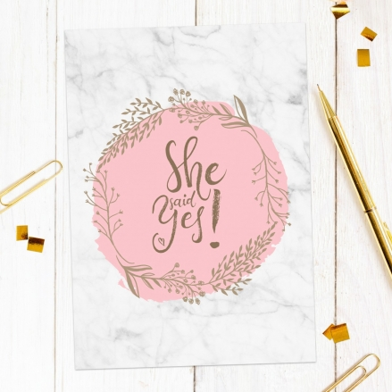 Engagement Party Invitations - Marble, Blush, She Said Yes!