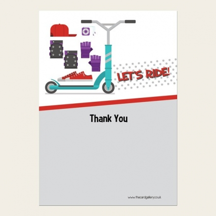 Ready to Write Kids Thank You Cards - Stunt Scooter