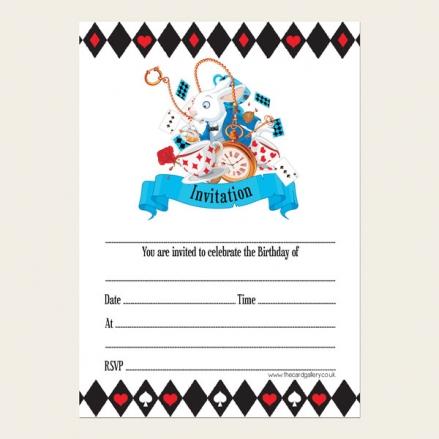 Ready To Write Kids Birthday Invitations - Wonderland Tea Party - Pack of 10