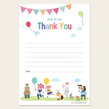 Kids Party Animals - Thank You Notelet - Pack of 20