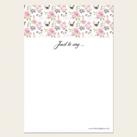 Cats & Roses - Thank You Notelet - Pack of 20