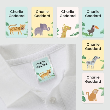 No Iron Personalised Stick On Clothing Name Labels Jungle Animals Mixed Pack of 56 thumbnail