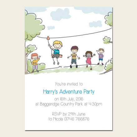 Personalised Kids Birthday Invitations - Adventure Party - Pack of 10