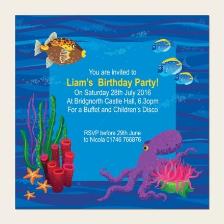 Personalised Kids Birthday Invitations - Sealife Aquarium - Pack of 10