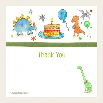 Ready to Write Kids Thank You Cards - Dinosaur Cake Party