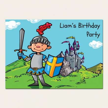 Personalised Kids Birthday Invitations - Knight - Pack of 10