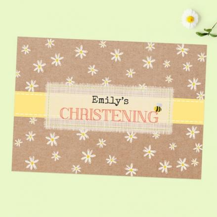 Christening Invitations - Kraft Daisies - Pack of 10