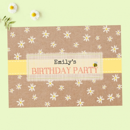 Kids Birthday Invitations - Kraft Daisies - Pack of 10