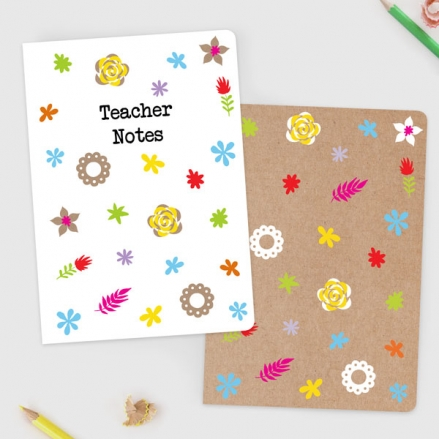 Fun Kraft Paper Flowers - A5 Exercise Books - Pack of 2