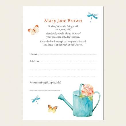 Funeral Attendance Cards - Ladies Gardening