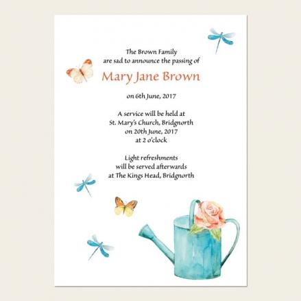 Funeral Announcement Cards - Ladies Gardening
