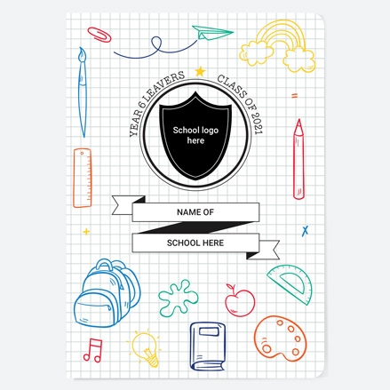 Stationery Pattern - Personalised A5 School Leavers Book
