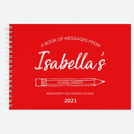 Neat-Pencil-Red-Personalised-A5-Wiro-Bound-School-Leavers-Book