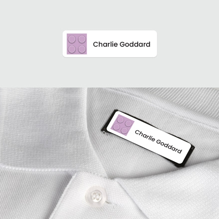 No Iron Small Personalised Stick On Waterproof (Clothing) Name Labels Building Block Purple Mixed Pack of 60 thumbnail
