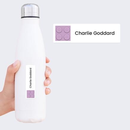 Medium Personalised Stick On Waterproof (Equipment) Name Labels Building Block Purple Mixed Pack of 42 thumbnail
