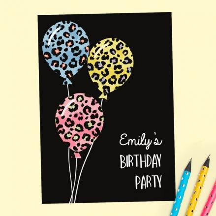Kids Birthday Invitations - Leopard Print Balloons - Pack of 10
