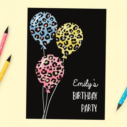 Teen Birthday Invitations - Leopard Print Balloons