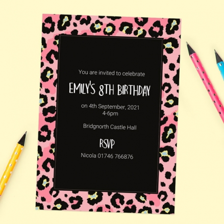Kids Birthday Invitations - Leopard Print Party - Pack of 10