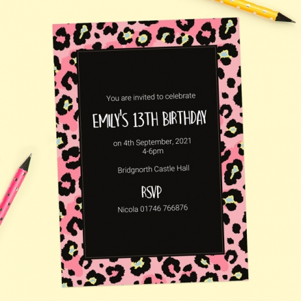 Teen Birthday Invitations - Leopard Print Party