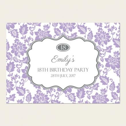 18th Birthday Invitations - Lilac Floral Pattern