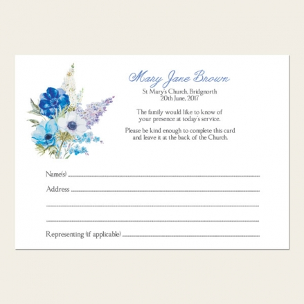 Funeral Attendance Cards - Lilac Flowers