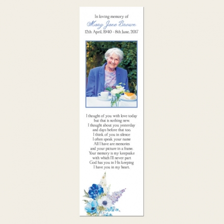 Funeral Bookmark - Lilac Flowers
