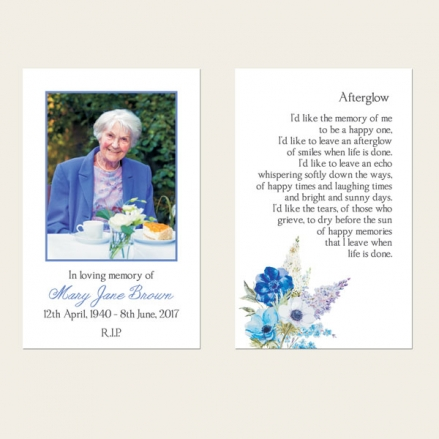 Funeral Memorial Cards - Lilac Flowers
