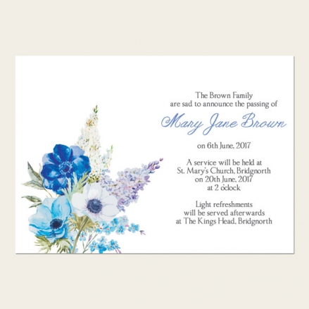 Funeral Announcement Cards - Lilac Flowers
