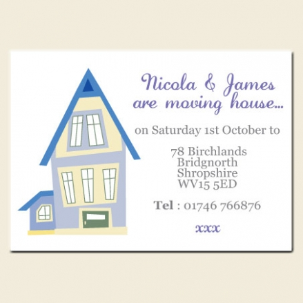 Address Cards - Lilac & Blue House - Pack of 10