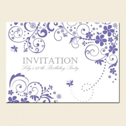 60th Birthday Invitations - Lilac Butterfly Swirls
