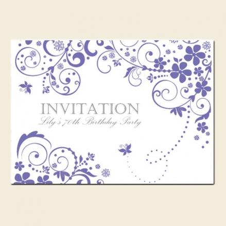 70th Birthday Invitations - Lilac Butterfly Swirls