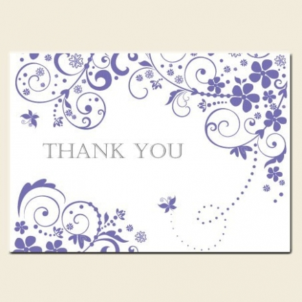 Ready to Write Thank You Cards - Lilac Butterfly Swirls