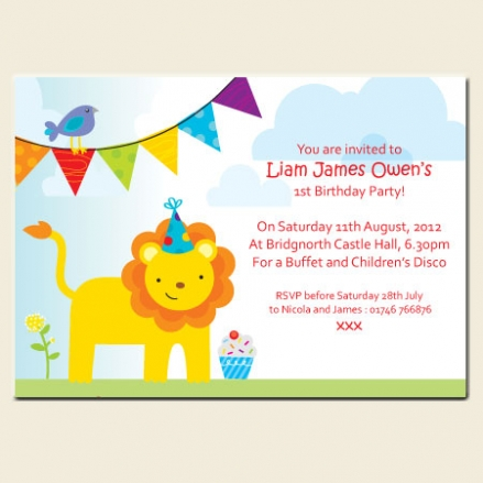 1st Birthday Invitations - Large Lion's Party