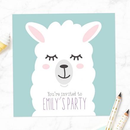 Kids Birthday Invitations - Llama - Pack of 10