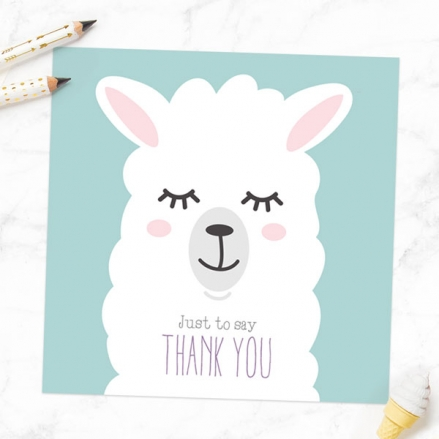 Ready to Write Kids Thank You Cards - Llama