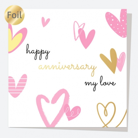 Luxury Foil Anniversary Card - Scattered Hearts - My Love