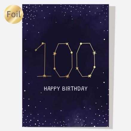 Luxury Foil Birthday Card - Constellation - 100th Birthday