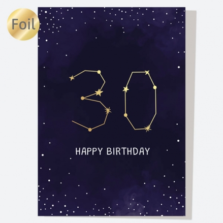 Luxury Foil Birthday Card - Constellation - 30th Birthday