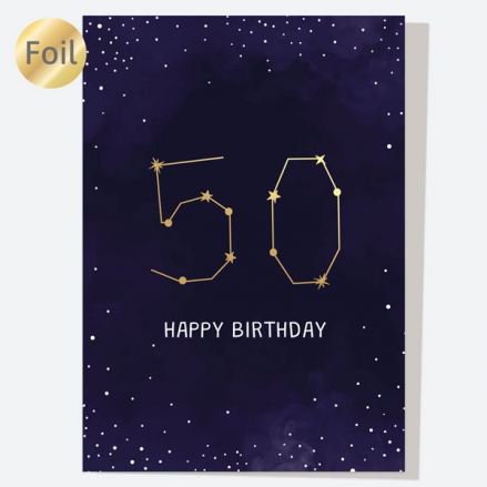 Luxury Foil Birthday Card - Constellation - 50th Birthday