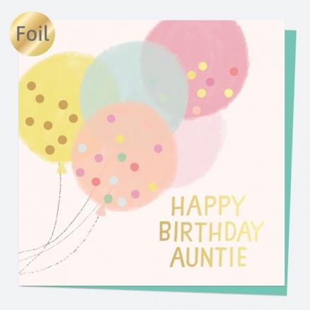 Luxury Foil Birthday Card - Sweet Spot Balloons - Happy Birthday Auntie